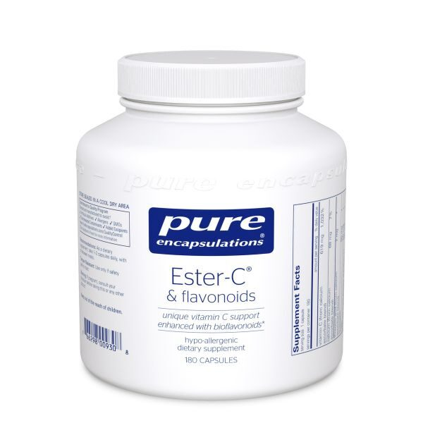 Bottle of Pure Encapsulations Ester-C & flavonoids