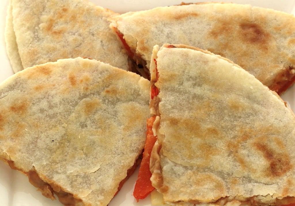 Cut up grain-free vegan quesadillas