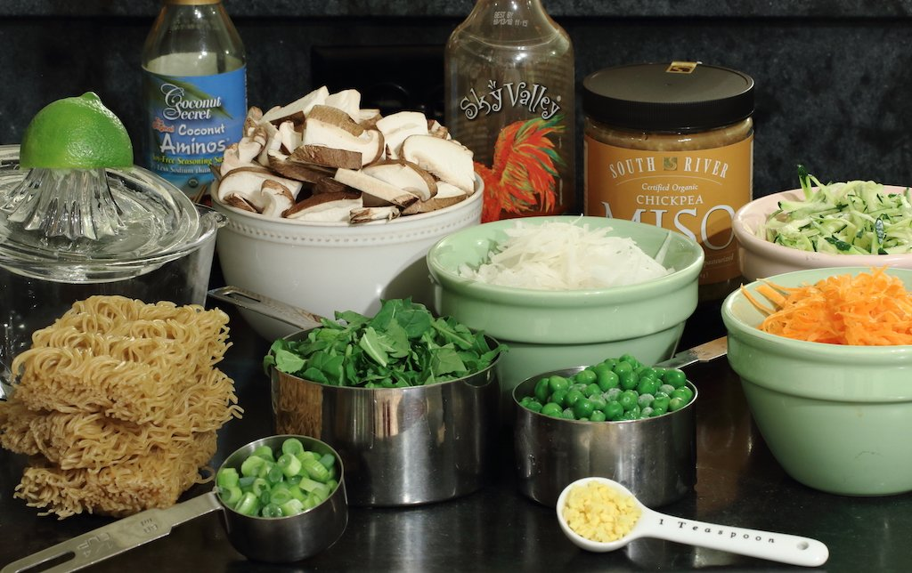 Ingredients prepared for Healthy Ramen Noodle Bowl recipe