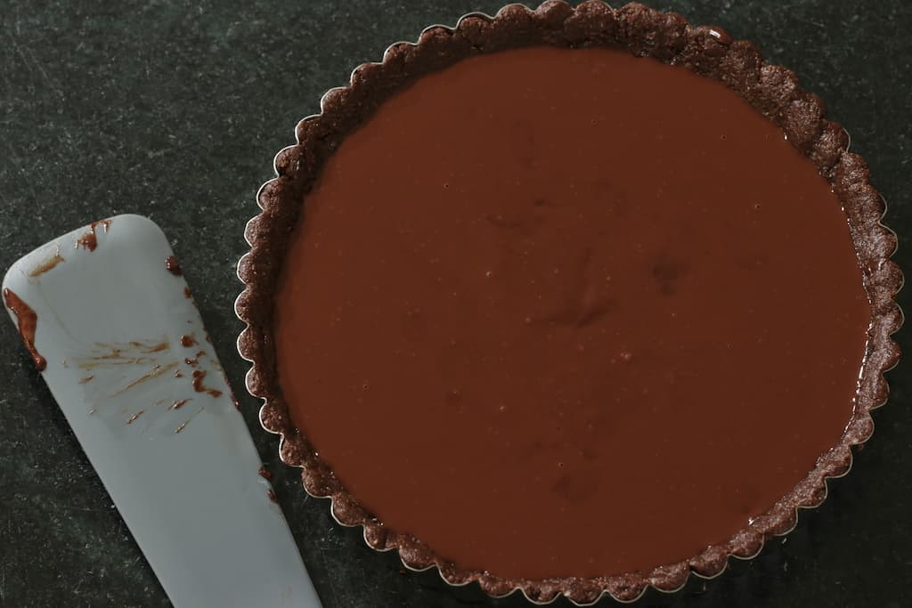Vega Chocolate Tart made and ready to be chilled