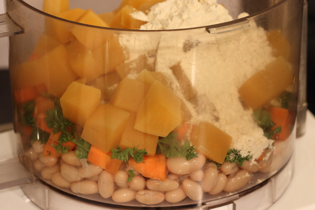 White Bean and Rutabaga Burger ingredients in food processor