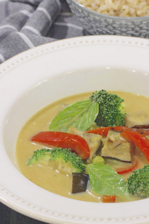 Thai Green Curry in white bowl