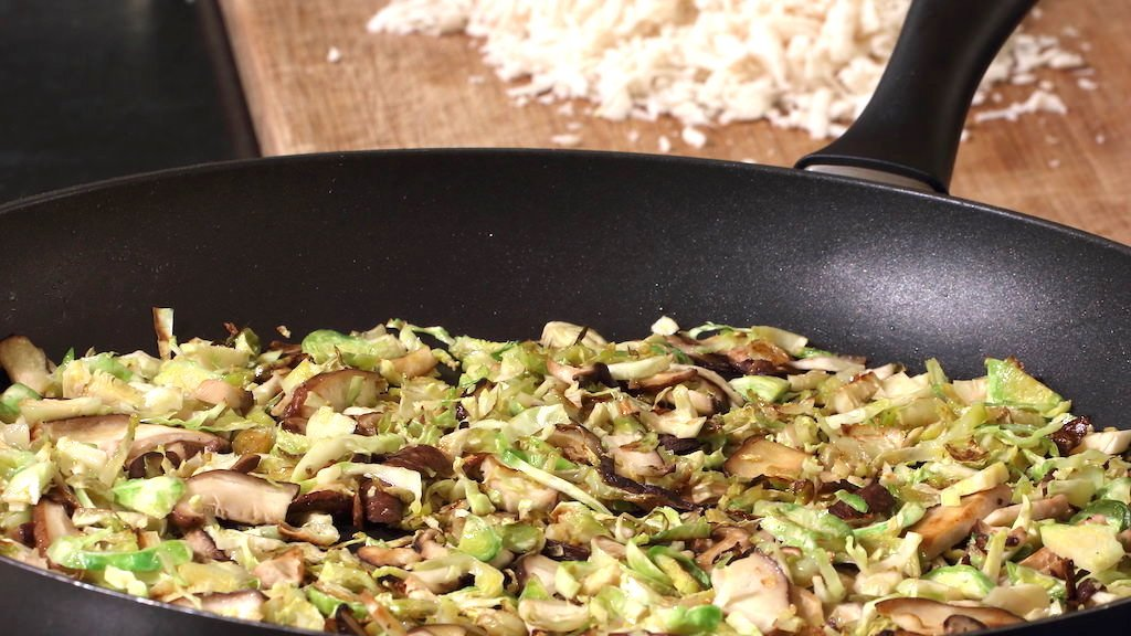 Brussels sprouts and shiitake pizza topping