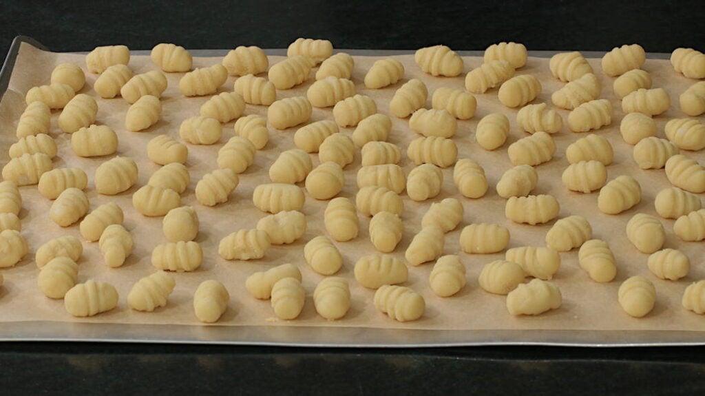 Tray of homemade gnocchi