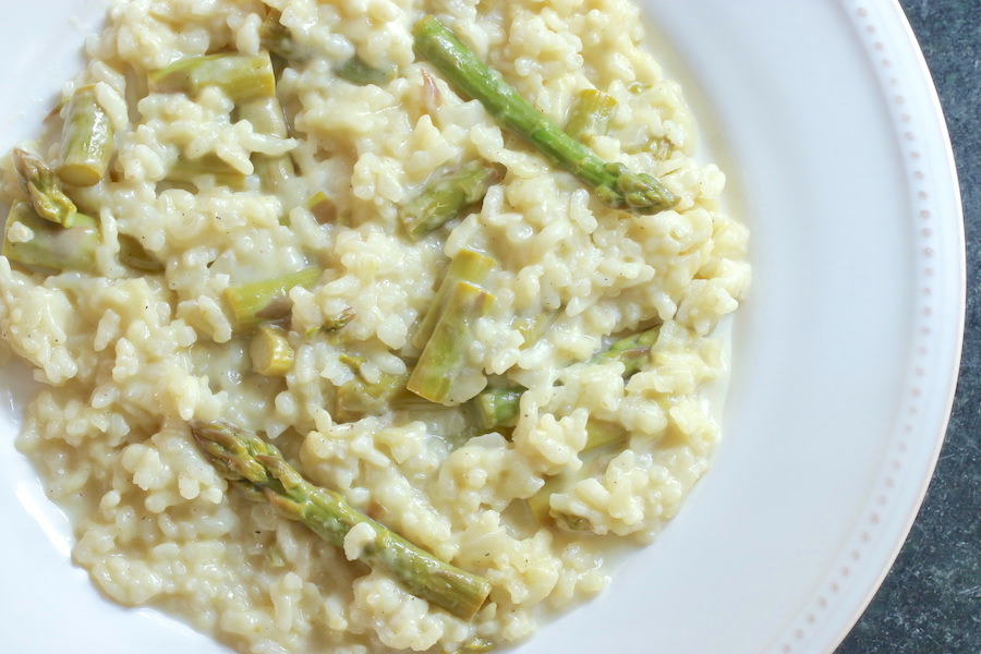 Vegan Asparagus Risotto served on large plate