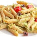 Vegan Garlic Scape Pesto over penne pasta