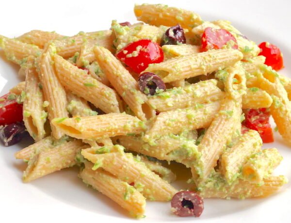 Vegan Garlic Scape Pesto over penne pasta