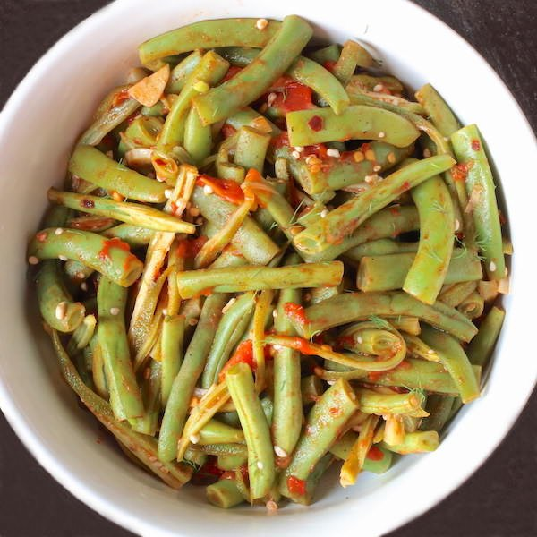 Bowl of Green Beans and Okra