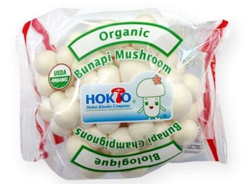 Package of Hokto Kinoko brand white beech mushrooms