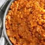 Misir Wot (Ethiopian Spicy Lentil Stew) in skillet