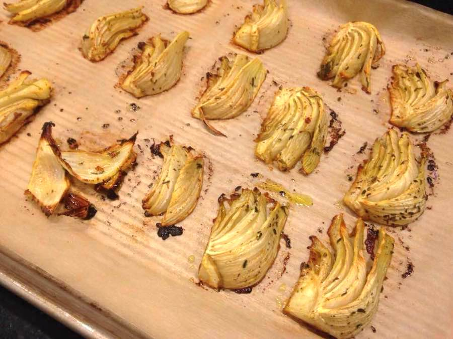 Roasted Fennel on a parchment lined baking sheet