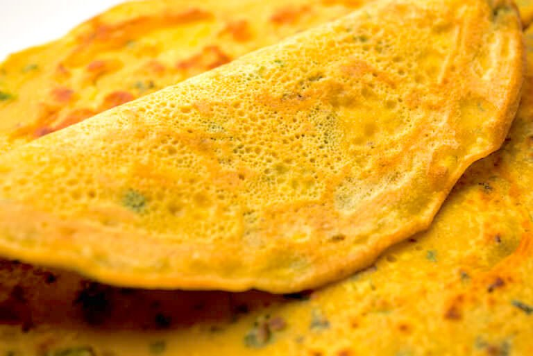 Traditional Indian chilla crepe
