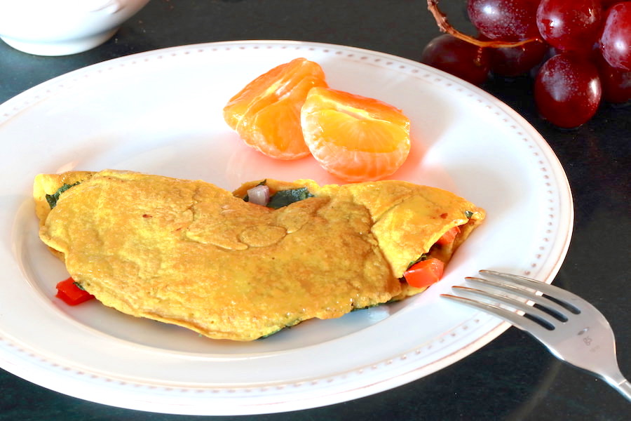 Vegan Omelette served with mandarin oranges and grapes