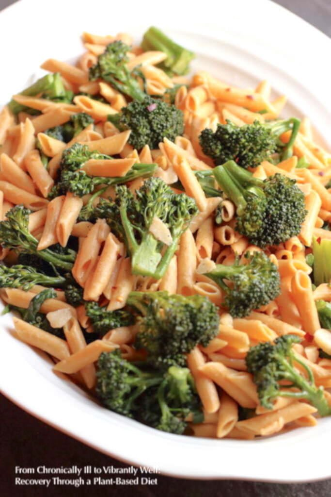 Broccolini and Pasta served on a large oval dish