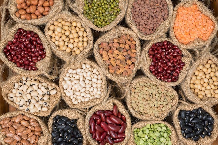 Display of legumes in burlap bags
