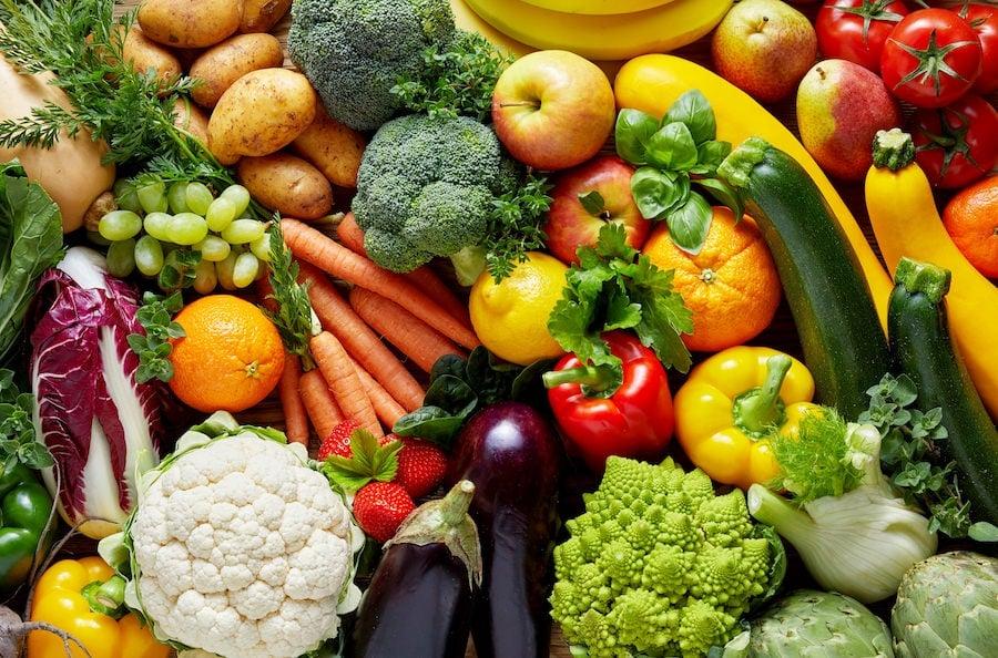 Display of fruits and veggies
