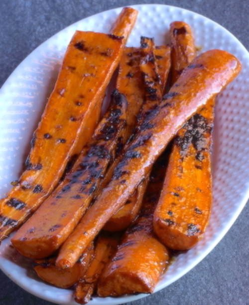 Grilled Carrots on an oval serving dish