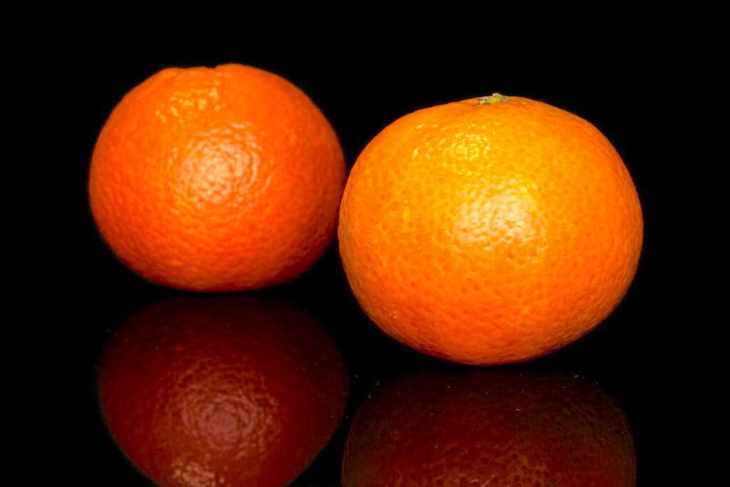 Two mandarin oranges