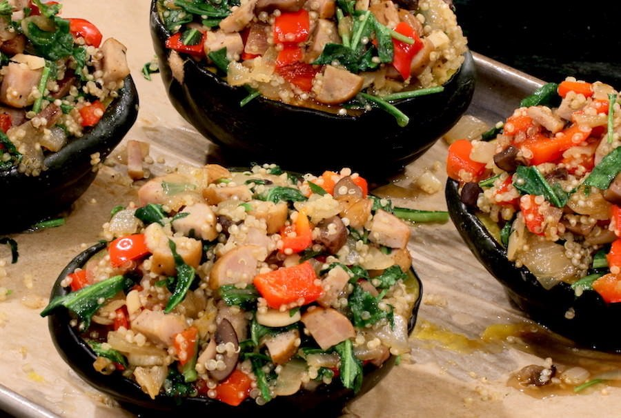 Stuffed Acorn Squash out of oven on baking sheet