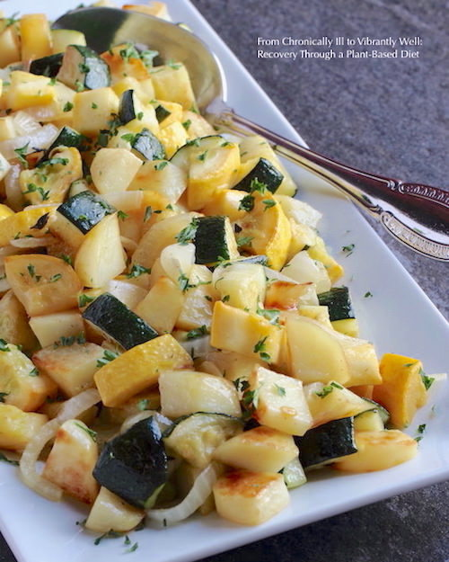 Summer Squash Onions and Potatoes served on a long rectangular serving dish