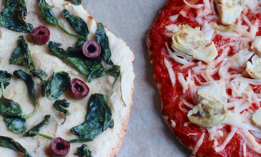 Two varieties of gluten-free vegan pita pizzas