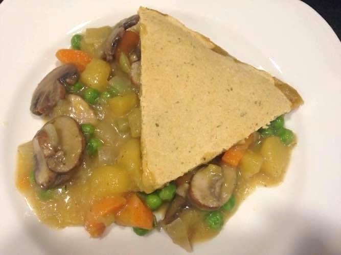 A slice of Veggie Pot Pie served on a plate