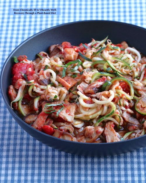 Zoodles with Mushroom Marinara cooked in a skillet