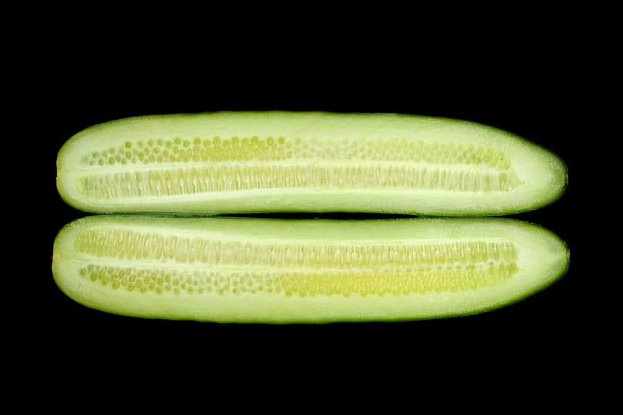 cucumber peeled and cut in half lengthwise; view of interior