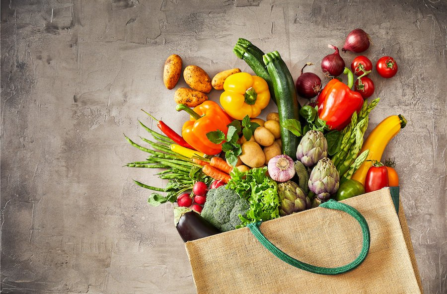 Grocery sack of fruits and vegetables