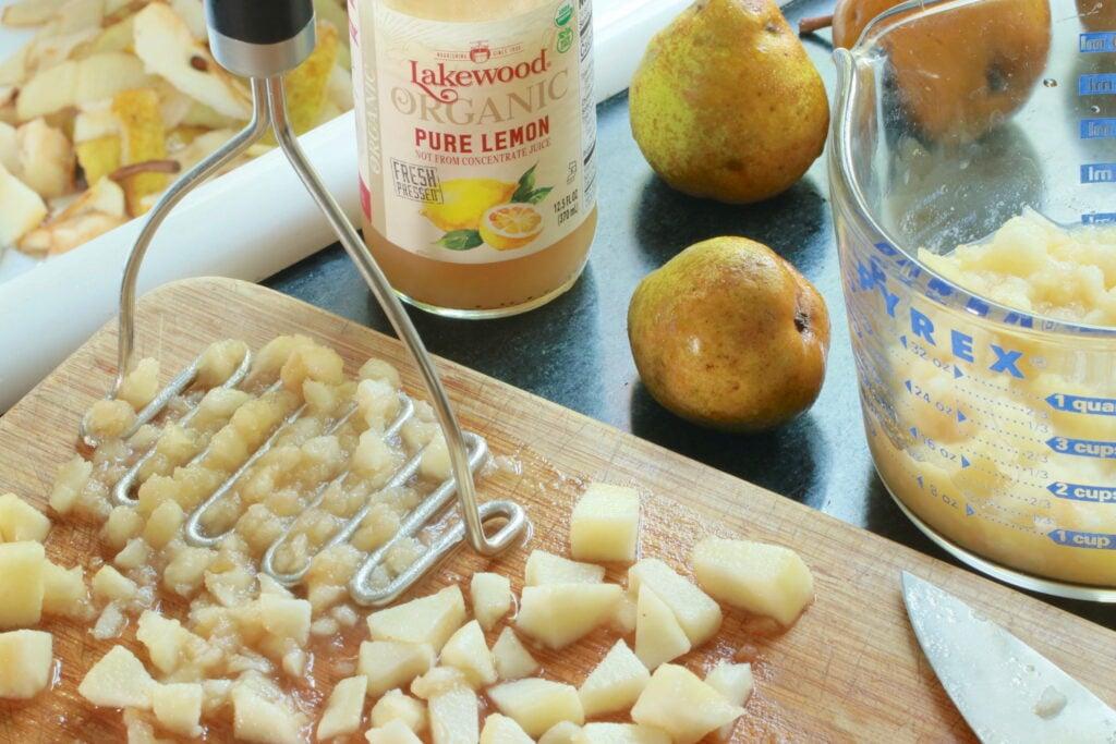 Peeling, coring, cutting, and mashing pears for pear jam recipe